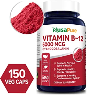 Vitamin B12-5000 MCG 150 Veggie Capsules (Non-GMO & Gluten Free) - Max Strength Vitamin B 12 Support to Help Boost Natural Energy, Benefit Heart Function