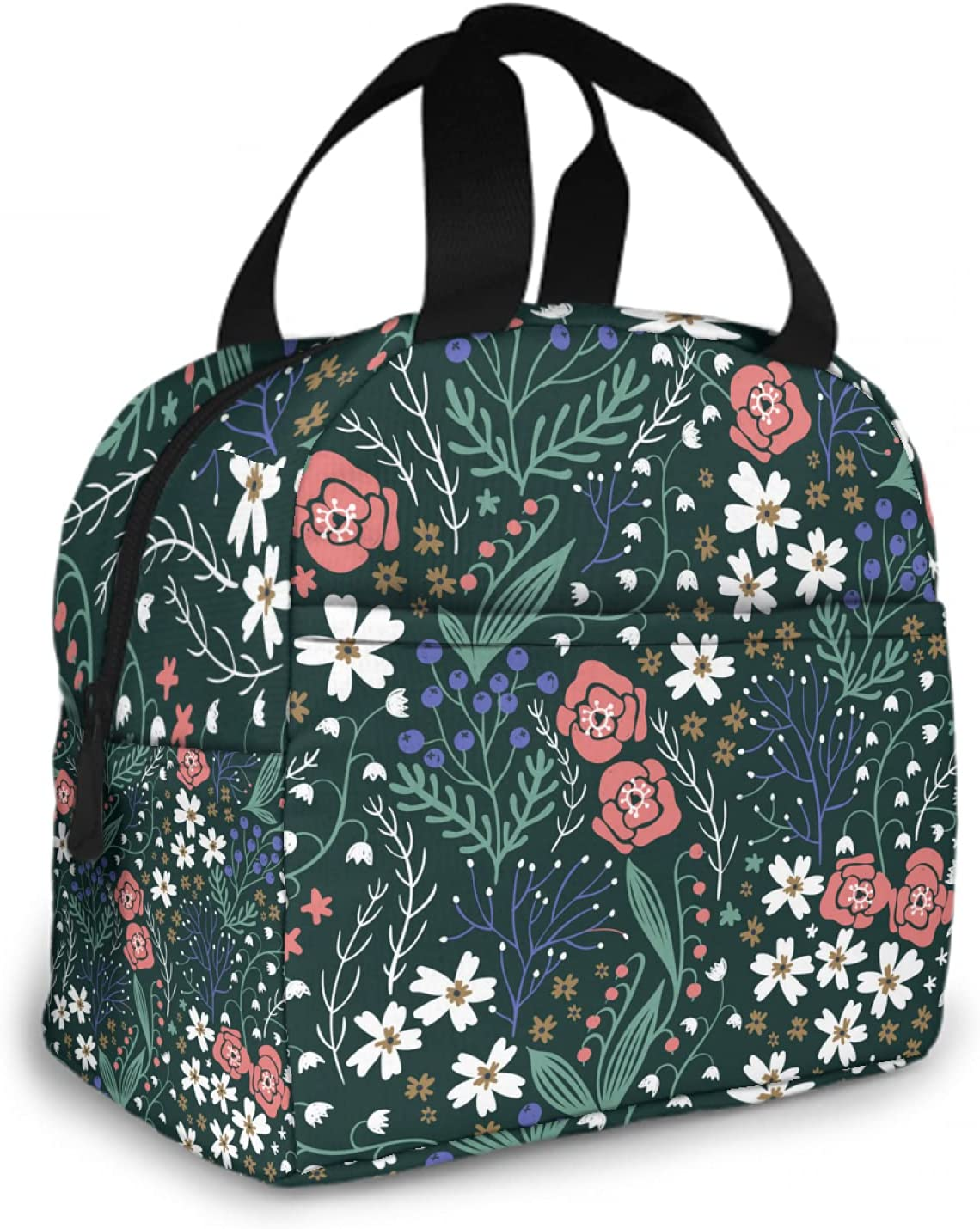 OcuteO Reusable Insulated Lunch Bag Floral Blooming Summer Flowe