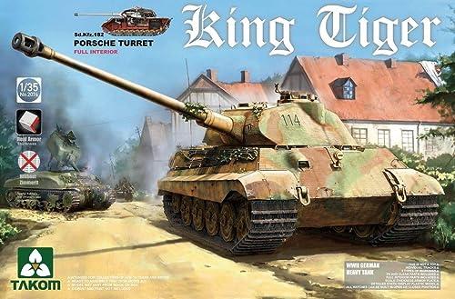 TAKOM 2074 Maqueta de WWII German Heavy Tank SD.Coche.182King Tiger Porsche Turret con Interior