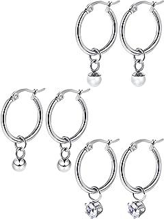 Huggie Hoop Earrings Stainless Steel Dangle Hinged Hoop Cuff Earrings Huggie Stud Earrings with Moon Star Bolt Charms for Women Girls