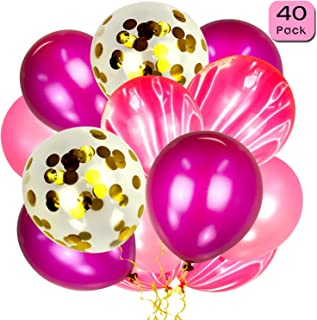Gold Confetti Balloons and Pink Agate Balloons (40pcs), 12 Inch Latex Balloons for Birthday Party, Wedding, Engagement, Baby Shower and Festival Decoration