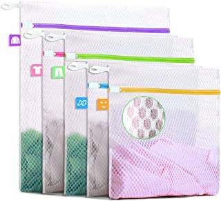 Btromeshy Mesh Laundry Bag,Set of 5 Lingerie Wash Bag for Delicates|Upgraded Loop Hook Zipper Protector and Colored Label|Reusable for Protecting Coats,Pants,Shirt,Socks,Bra and Underwear|3 Sizes