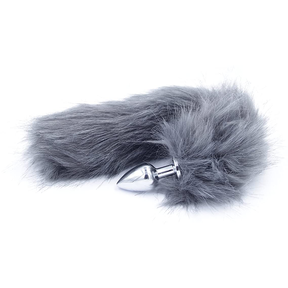 Fox Tail Stainless Steel Ana-l' Plu'g Bu-tt Seee-x to-ys Wand Massage Plush Cosplay Costume Accessories Set Kit Fluffy Shower Enem-a Beginner Starter Set Gray