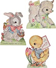 Bethany Lowe Set/3 Easter Animal Dummy Board Lamb Bunny Chick Retro Vintage Style Decor