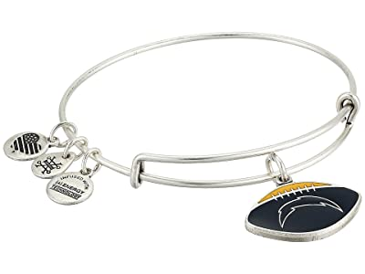 Alex and Ani Color Infusion Los Angeles Chargers Football Bangle (Rafaelian Silver) Bracelet