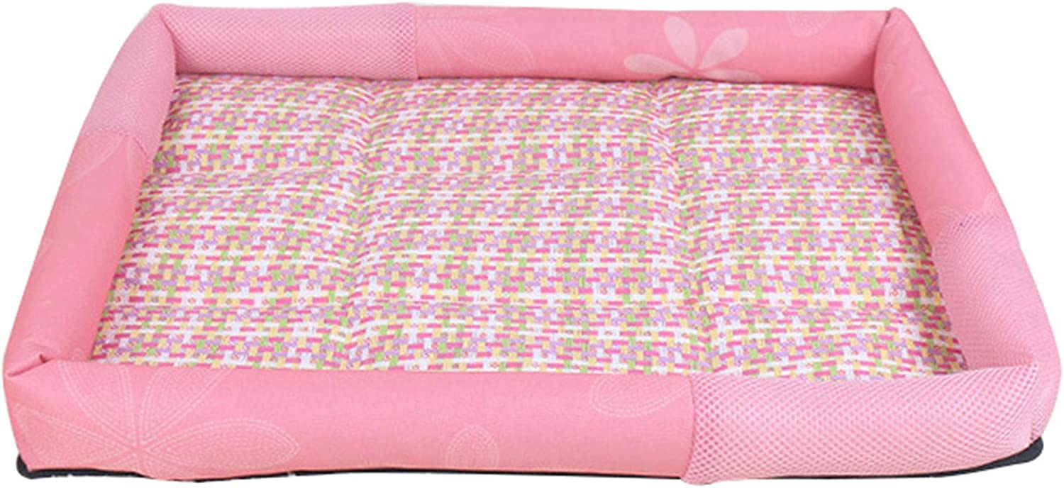 Pet Summer Dog Bed Mat,Cooling Rattan Cat Beds,Washable Oxford Puppy Cushion for Small Dogs S M L