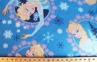 Disney Frozen Elsa Framed Toss Snowflakes Blue Print Fleece Fabric by the Yard k51609-1600710s