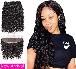 Brazilian Human Hair Water Wave 3 Bundles with Lace Frontal Closure(14 16 18 with 12), Wet and Wavy, 9A Ear To Ear Frontal With Baby Hair Human Hair Extensions