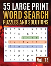 55 Large Print Word Search Puzzles and Solutions: Activity Book for Adults and kids Full Page Seek and Circle Word Searches to Challenge Your Brain (Find Words for Adults & Seniors Vol.74)