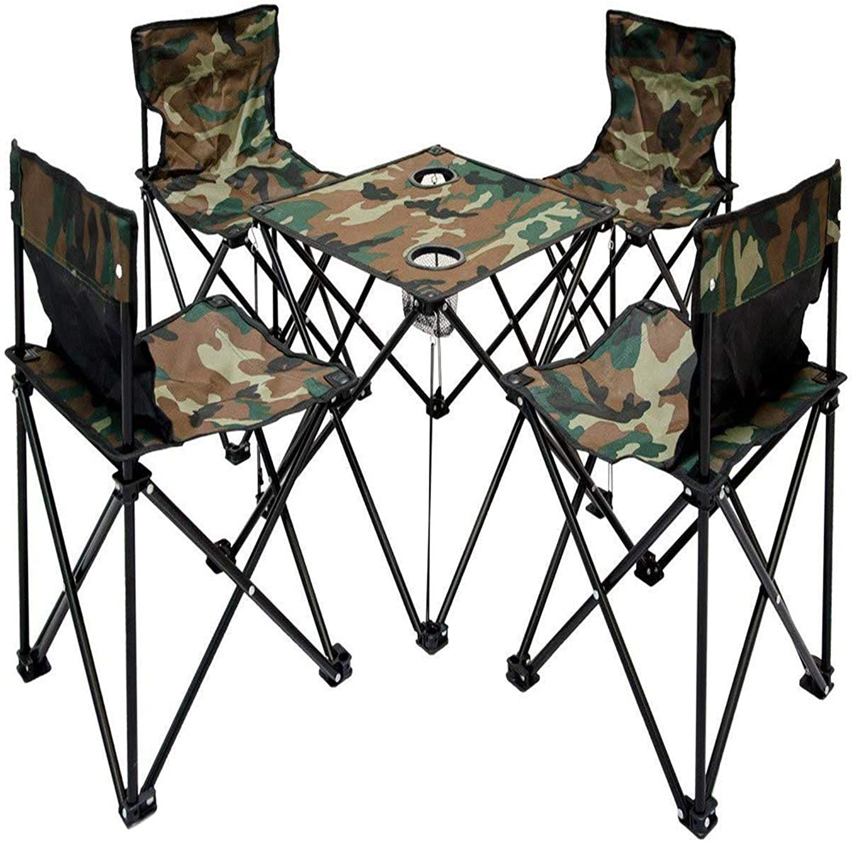 YSYDE Camping Tisch 4 Stühle Tragetasche Folding Lightweight Midget Portable für Picknick Camping Festivals BBQ Wandern Angeln Ideal für Camping Wandern Picknick