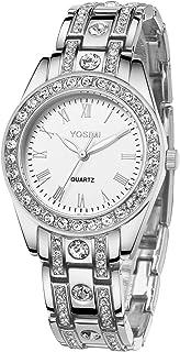 YOSIMI Womans Quartz Watch Waterproof Wristwatches for Women Diamond Bracelet Luminous Hands Easy Read Big Numbers