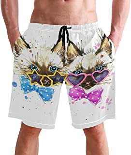 Beach Shorts, Kittens Funny Printed Mens Trunks Swim Short Quick Dry with Pockets for Summer Surfing Boardshorts Outdoor W...