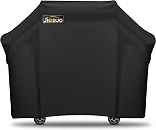 JIESUO BBQ Gas Grill Cover for Weber Genesis: Heavy Duty Waterproof 60 Inch 3 Burner Weather Resistant Ripstop UV Resistant Outdoor Barbeque Grill Covers (Renewed)