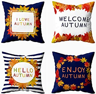 Fullentiart Colorful Pillow Cover,Farmhouse Throw Pillows for Couch 18X18 Pillow Insert Set of 4 Autumn Fall Colorful Fest...