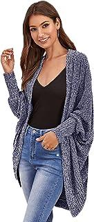 SweatyRocks Women's Casual Solid Open Front Long Sleeve Knit Sweater Cardigan