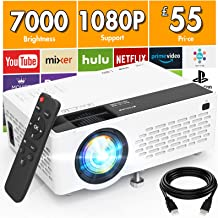 Projector 1080P Full HD Supported, 7000 Lumens Mini Projector, Portable Projector Compatible with TV Stick HDMI VGA USB TF...