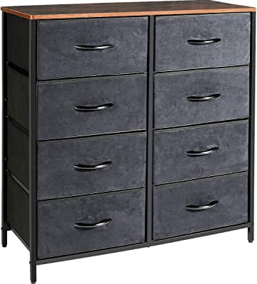 Kamiler Dresser with 8 Drawers, Tall Vertical Storage Organizer, 4-Tier Wide Drawer Dresser, Tower Unit for Bedroom/Hallway/Entryway/Closets (Rustic Brown)