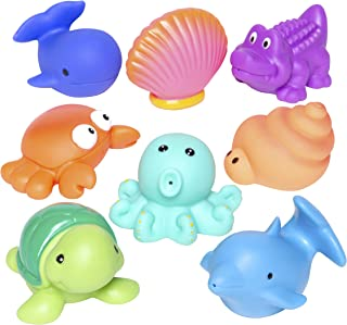 Elegant Baby Bath Time Fun Rubber Water Squirties , Animal Sea Party, Set of 8 Bath Squirt Toys
