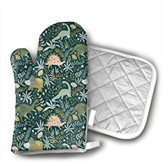 Cute Dinosaur Oven Mitts,Heat Resistant Oven Gloves Insulation Thickening Cotton Gloves Baking Kitchen Cooking Mittens with Soft Inner Lining