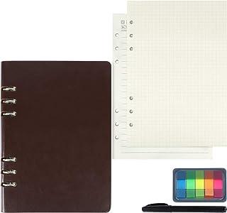 eZAKKA システム手帳 手帳リフィル A5 6穴 180枚 横罫 方眼紙 クラフト紙 付箋付き バインダー 補充可能