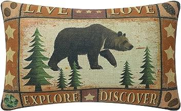 TRENDIN Cottage Design Pillowcase Cotton Linen Pillow Cover 20 x 12 Inch, Forest Bear PL180TR