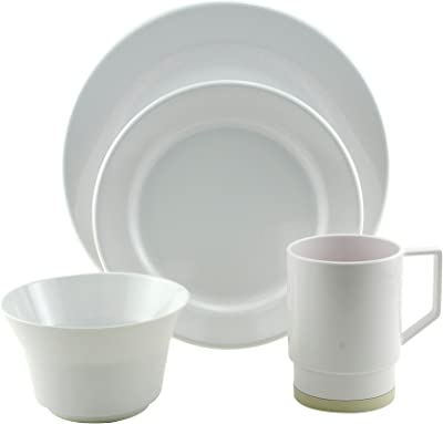 Galleyware White 24 Piece Melamine Non-Skid Dinnerware Set