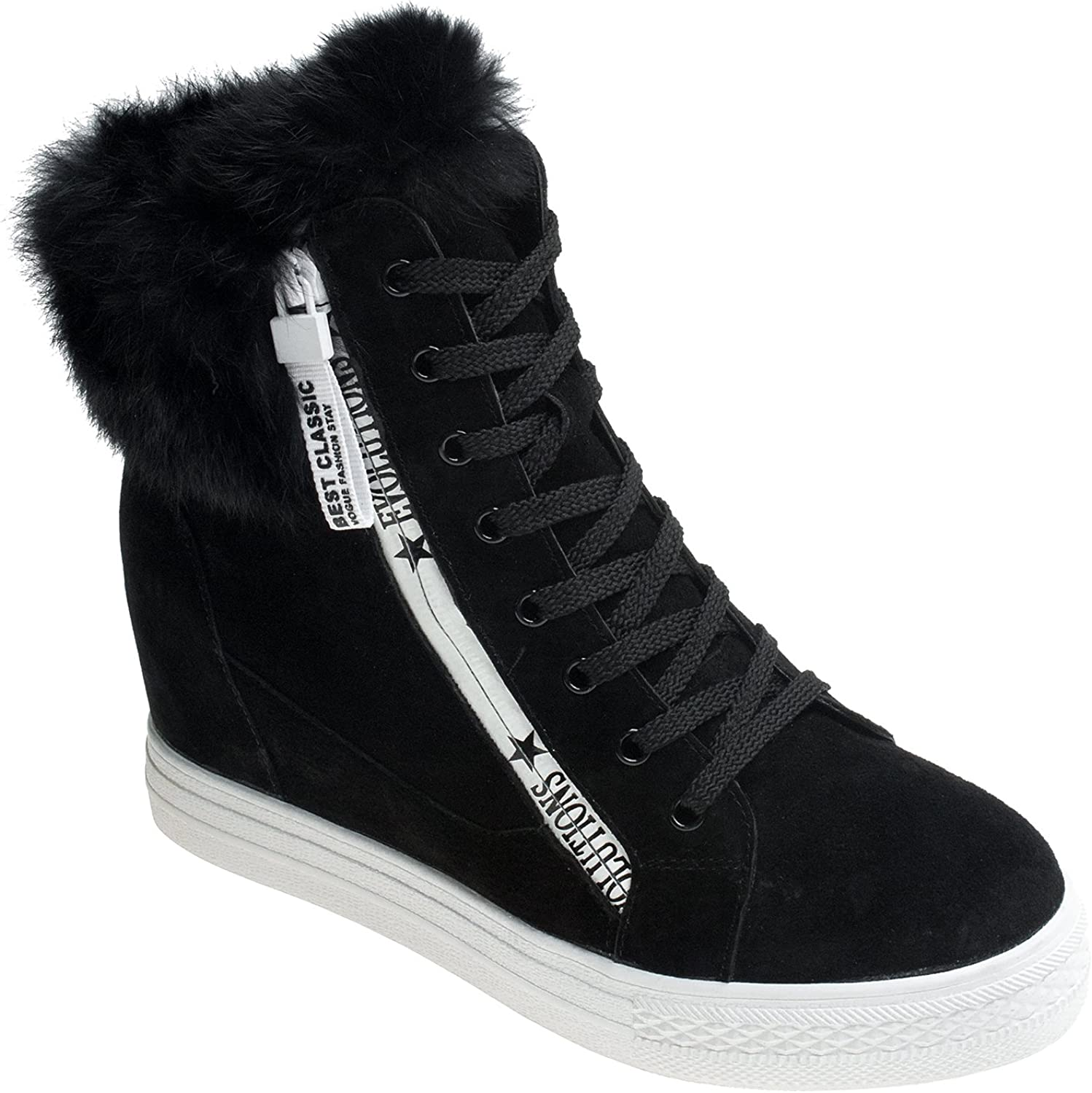 AnnaKastle Womens Fur Trimmed Suede Leather High Top Fashion Zip Sneaker Boots