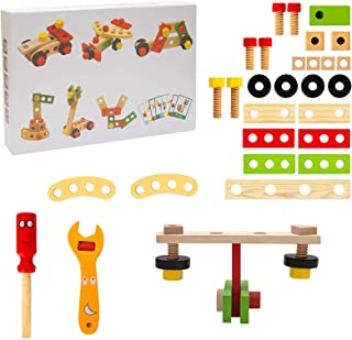 Fuortia Wooden Cartoon Tool Assembly Toy Children DIY Game Set Multifunctional nut Combination