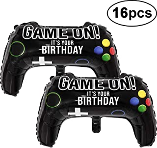 Gejoy 16 Pcs Video Game Party Balloons, 23.6 x 15.7 Inch Game on Balloons Video Game Controller Aluminum Foil Balloon for Birthday Party and Game Party Decoration
