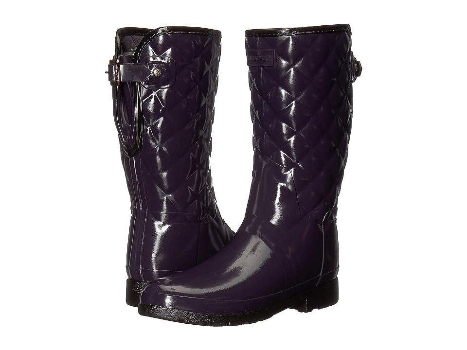 Hunter Refined Gloss Quilt Short Rain Boots (Aubergine) Women