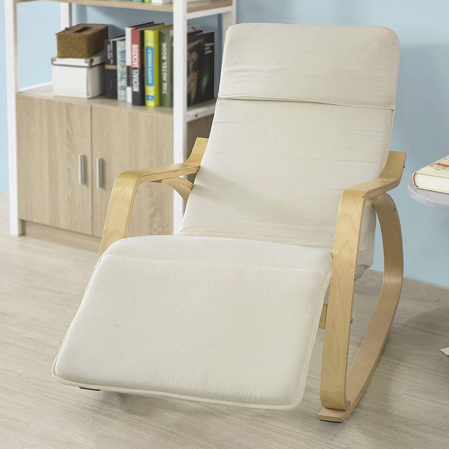 Haotian Comfortable Relax Rocking Chair with Foot Rest Design, Lounge Chair, Recliners Poly-Cotton Fabric Cushion,FST16-W,White color