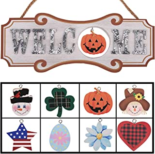YEASL Interchangeable Seasonal Welcome Sign - Front Door Decor Wall Hanging Wood Plaque Whimsical Porch Decorations for Home (Welcome)