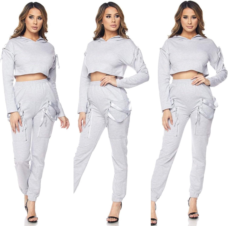 Women Casual Tracksuit Suit Hoodies Crop Tops Jogger Sports Sweatshirt Pants Set