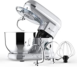 Ausbuy Stand Mixer, 900W 4.5L 6-Speed Tilt-Head Food Mixer, Kitchen Electric Mixer with Dough Hook, Wire Whip & Beater (Si...