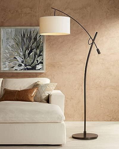 Modern Arc Floor Lamp Bronze Off White Linen Drum Shade Adjustable for Living Room Reading Bedroom Office – Possini Euro Design