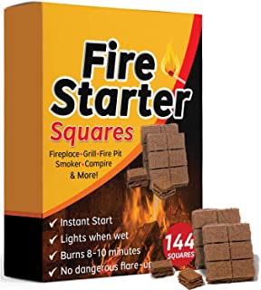 Best Bangerz Sunz Fire Starter Squares 144, Larger and Safer Fire Starters for Fireplace, Wood Stove & Grill, Camp Fire Pit Charcoal Starters 50B, USA Made Review
