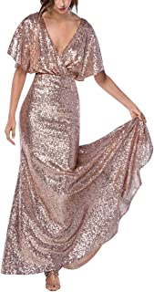 Staypretty Women`s V Neck Sequin Long Mermaid Prom Evening Gown