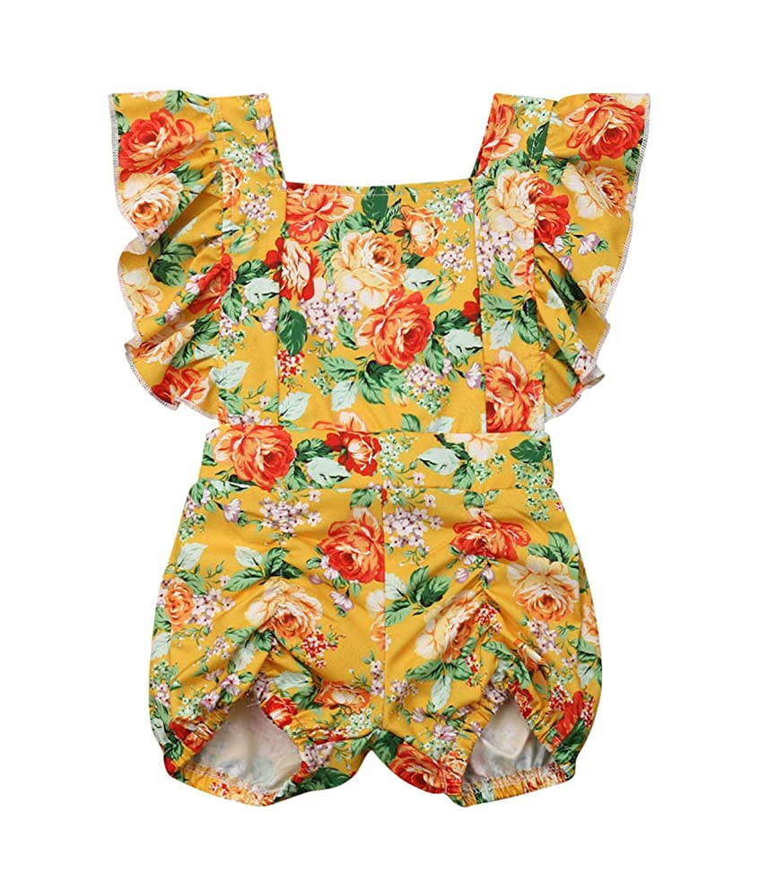 0-24M Baby Girls Full Floral Romper Bodysuit Jumpsuit Ruffle Sleeve One Piece Summer Off Shoulder Casual Overall