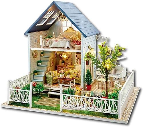 Yangxuelian en Bois Bricolage Chalet Cottage Fait à la Main assemblé modèle Jouet Enfants Cadeau (Vacances Nordiques) (Couleur   Multi-Couleuruge, Taille   28.2  24.6  23.4cm)
