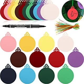120 Pieces Round Bauble Hanging Gift Tags Christmas Tree Blank Hanging Ornaments with 120 Pieces Ribbons and a Pen for Christmas Decoration DIY Crafts (120 Pieces)