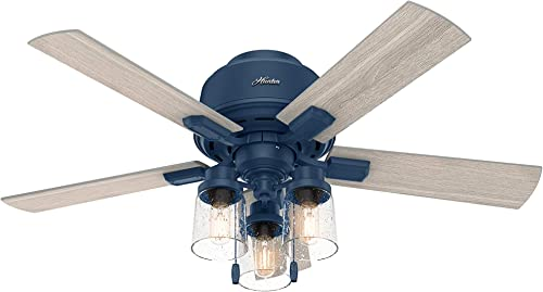 """discount Hunter Hartland Low Profile Indoor Ceiling Fan with LED Lights popular new arrival and Pull Chain, 44"""", Indigo Blue online"""