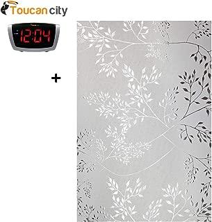 Toucan City LED Alarm Clock and Artscape Elderberry 36 in. x 72 in. Privacy Window Film 02-3030
