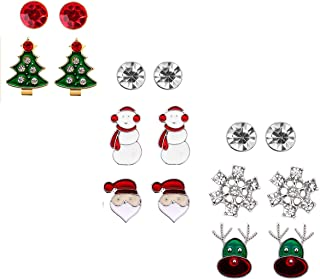 Christmas Stud Earring Set Gift - Pack of 8 Pairs Hypoallergenic Christmas Gift Jewelry for Women Girls Kids Teens Christmas Santa Claus, Deer, Snowmen, Green Christmas Tree Holiday Earrings