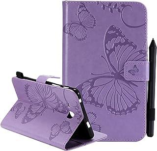 جراب Galaxy Tab A 7.0، جراب SM-T280/T285، جراب واقٍ مصنوع من الجلد الصناعي الفاخر بتصميم على شكل فراشة ومزود بحامل بطاقات ...