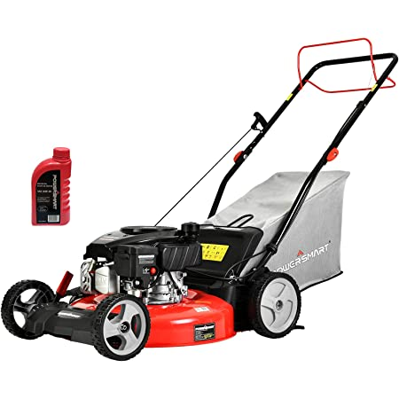 PowerSmart Self Propelled Lawn Mower DB2321SR, 21 Inch Lawn Mower Gas Powered with 170CC 4-Stroke Engine, 3-in-1 Mower with Bag, 5 Cutting Heights Adjustable (1.2''-3.0'')