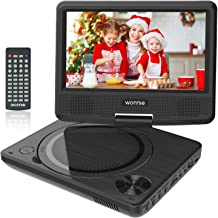 WONNIE 9.5 inch Portable DVD Player for Kids, Travel DVD CD Player for Car, with 7.5 inch Swivel Screen, Remote Control, USB / SD Card Reader ( Black)