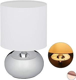 Relaxdays 10029515_55 Lampe de chevet Tactile, réglable, moderne 3 niveaux, E14 veilleuse, câble 28x18 cm, argentée, fer, ...