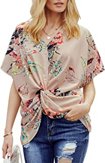 Womens Casual Short Sleeve V Neck Ruched Twist Floral Tunic Tops for Women Shirts Tops and Blouse S-XXL