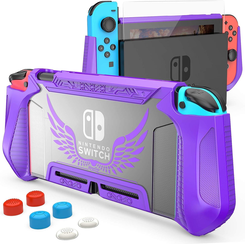 HEYSTOP Carcasa Compatible con Nintendo Switch, Funda Switch con Protectora TPU Grip Funda de Agarre Compatible con la Consola de Pantalla para Nintendo Switch Console con 6 Agarres para el Pulgar
