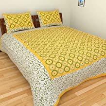 UNIBLISS 100% Cotton Comfort Rajasthani Jaipuri Traditional King Size 1 Double Bedsheet with 2 Pillow Covers - Yellow